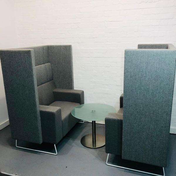 Used Cube Spaces Pair Of High Back Enclosed Armchairs + Coffee Table