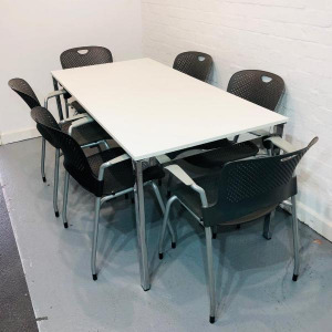 Used Wiesner Hager White 6 Person Boardroom Table, Chrome Legs
