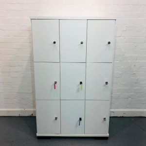 Used 9 Compartment Wooden Office Storage Locker, Keys Included, White