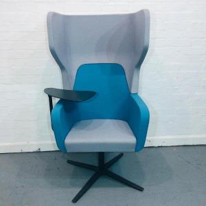 Used Orangebox Armchair With Writing Table, Swivel Base, Blue / Grey