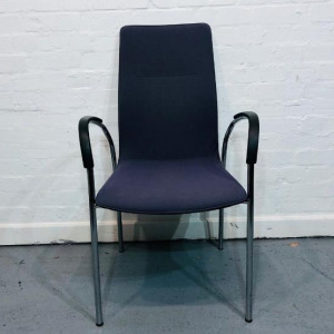 Used Kusch+Co Stackable High-Back Meeting Chair, Armrests, Blue Fabric
