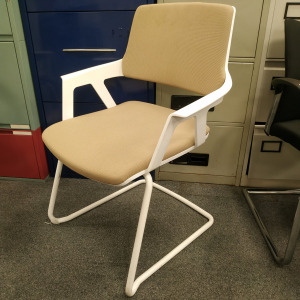 Used Interstuhl Modern Multipurpose Meeting Chair, White / Light Brown