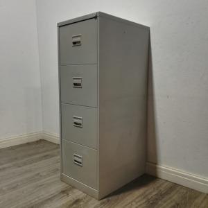 Used Bisley Metal 4 Drawer Lockable Filing Cabinet H1330mm, Grey