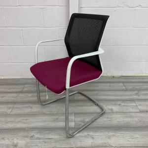 Used Orangebox Workday Mesh Meeting Chair, Cantilever Frame, Pink