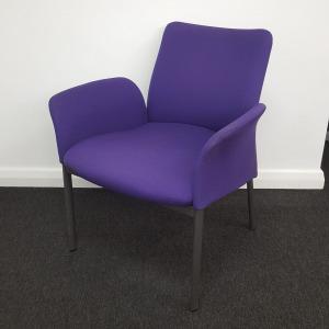 Used Modern Reception Armchair, Metal Legs, Padded, Purple Fabric