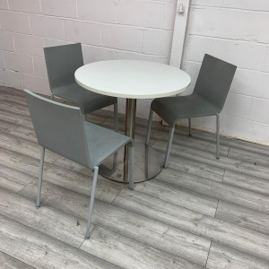 Used Round White Meeting / Dining Table With Vitra Grey Chairs Set