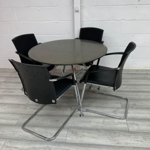 Used Round Dark Wood Meeting Table With 4 Kong+Neurath Chairs Set