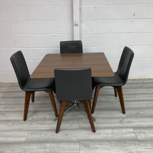 Used Senator Square Walnut Table & 4 Frovi Black Chairs Meeting / Dining Set
