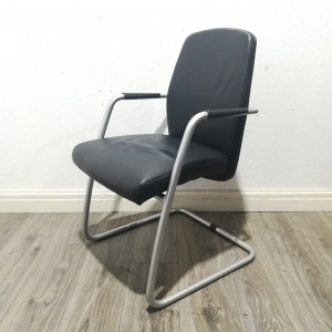 Used Sitland High-Back Executive Meeting Chair, Real Leather, Black