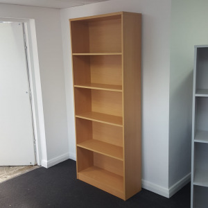 Used Tall Bookcase, 4 Fixed Shelves, Beech, H1990 x W800mm