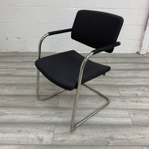 Used Verco Meeting / Conference Chair, Chrome Cantilever Frame, Black