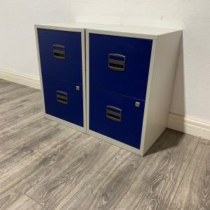 Used Desk Height 2 Drawer Filing Cabinet, Grey Frame, Blue Front