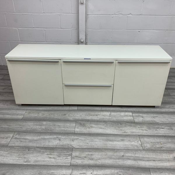 Used 4 Door Sideboard / Credenza, Modern, Silver Handles, White