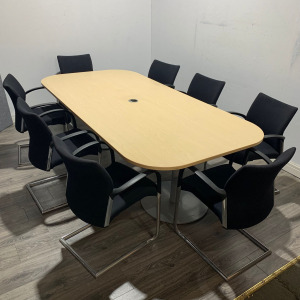 Used Boardroom / Meeting Table, 8 Person, Port Hole, Maple, L2400mm