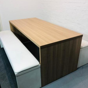 Used Modern Cherry Canteen / Dining Table & 2 White Benches Set