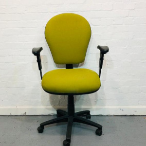 Used Lime Green Task Operator Chair, Fully Adjustable Including Armrests