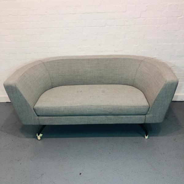 Used Orangebox 2 Person Reception Sofa, Grey Fabric, Modern, Curved