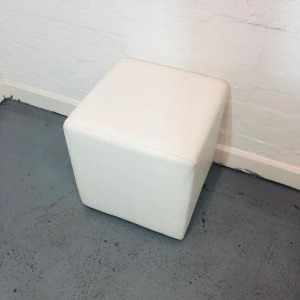 Used White Leather Cube Chair / Modular Seatin