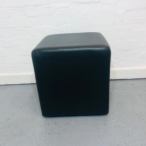Used Black Leather Cube Chair / Modular Seating / Breakout Stool