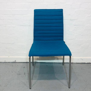 Used Pledge Multipurpose Stacking Office / Dining Chair, Blue Fabric