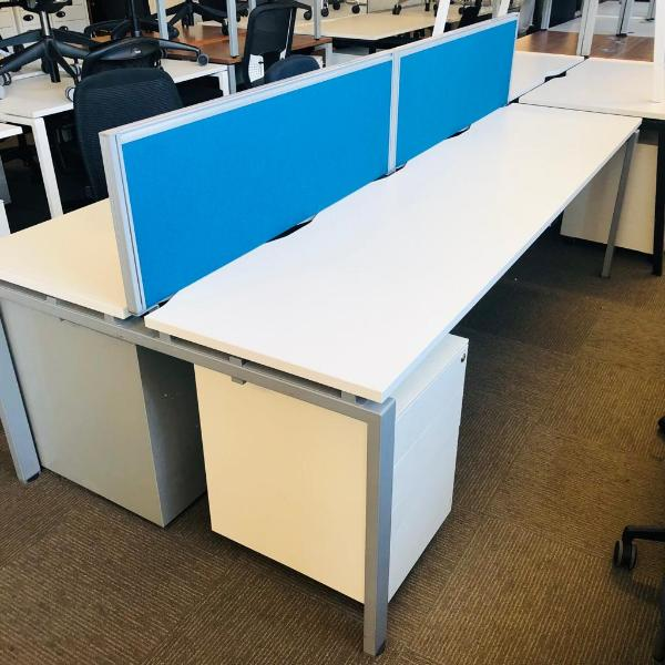 Used Bene 6 Person Back To Back Bench Desks With Screens, White