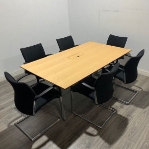 Used Ahrend Meeting Table / Desk, 6 Person, Maple, L1800 x W1000mm