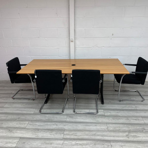 Used Rectangular Beech Meeting Table With 4 Vitra Conference Chairs