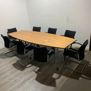 Used Boat Shaped Boardroom / Meeting Table, 8 Person, Cherry. 2800mm