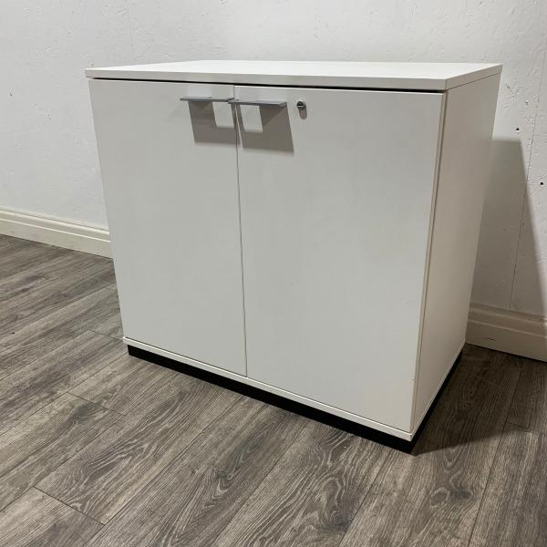 Used White Desk Height Office Cupboard, 1 Shelf, Width 800mm