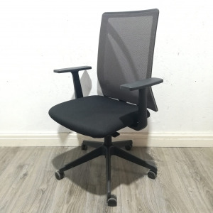Used Forma 5 Square Back Mesh Office Chair, Armrests, Black / Grey