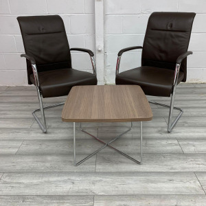 Used 2 x Kusch+Co Brown Leather Cantilever Chairs & Coffee Table Set