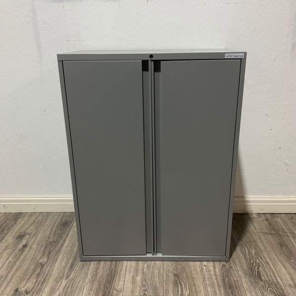 Used Mid Height Metal Tambour Cupboard, Lockable, 2 Shelves, Grey