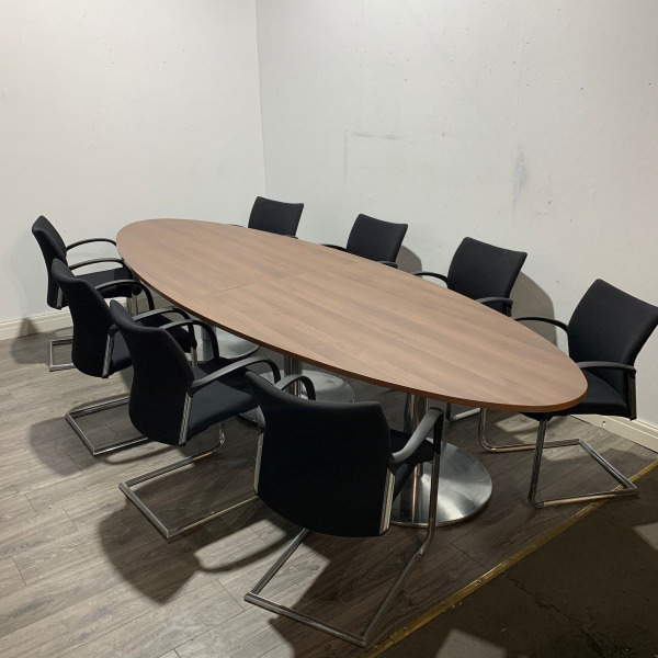 Used Oval Shaped Boardroom / Meeting Table, 8 Person, Walnut, 3400mm