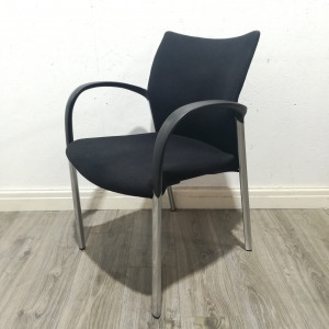 Used Senator 4 Stackable Meeting / Conference Chair, Four Legged, Black