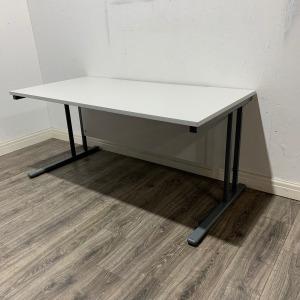 Used Rectangular Office Desk, Cantilever Frame, Light Grey, W1600mm