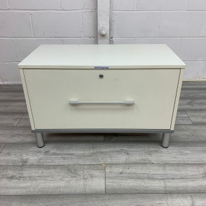 Used Small MFC 1 Drawer Side Filing Cabinet, Lockable, White
