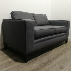Used Modern 2 Seater Sofa, Grey Fabric, Raised Frame On Legs