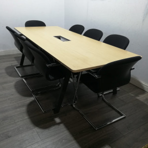 Used Boardroom / Meeting Table, 8 Person, Steelcase Top, Maple