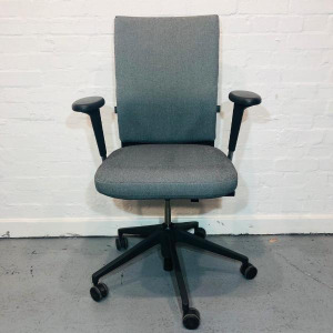 Used Vitra Axess Office Task Chair, Fully Adjustable, Armrests, Grey Fabric
