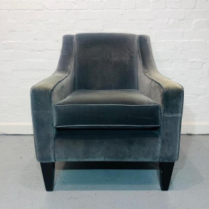 Used Art Deco Style Club Armchair With Legs, Grey Suede Fabric