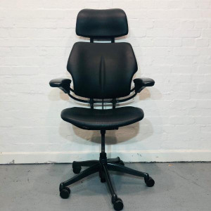 Humanscale Freedom Executive Office Chair, Headrest, Armrests, Real Black Leather