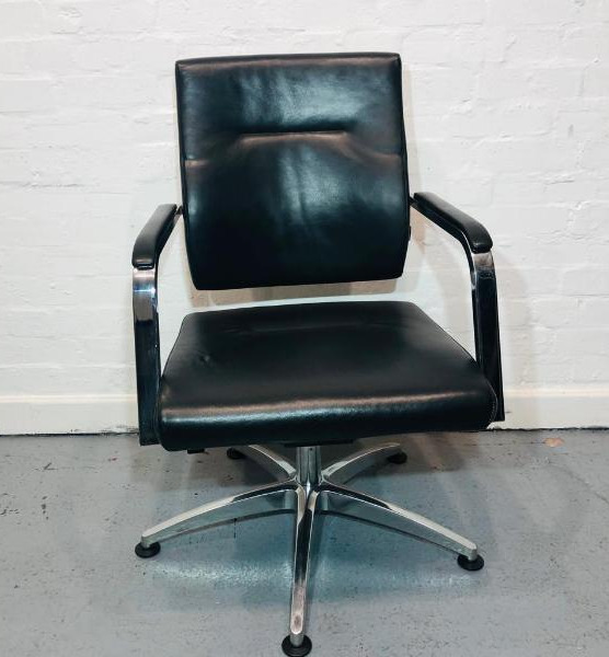 Verco Executive Meeting Chair, Fixed Swivel Base, Black Real Leather, Walnut Back