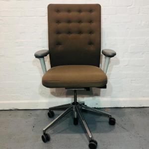 Used Vitra ID Trim Office Task Chair, Adjustable, Armrests, Mocha Brown