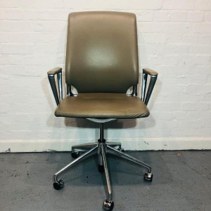 Used Vitra Meda Executive Office Chair, Real Leather, Aluminium Frame