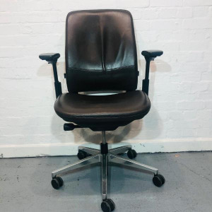 Used Steelcase Amia Executive Office Chair, Real Leather, Brown