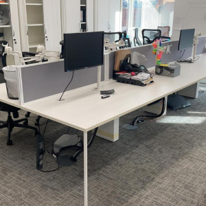 Used Sven Christiansen 6 Person Bench Desks With Screens, White