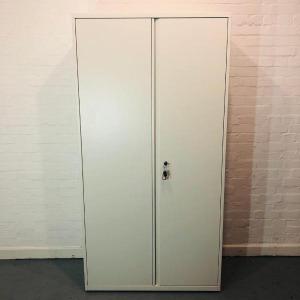Used KI Metal Tall Lockable Cupboard, 4 Adjustable Shelves, White