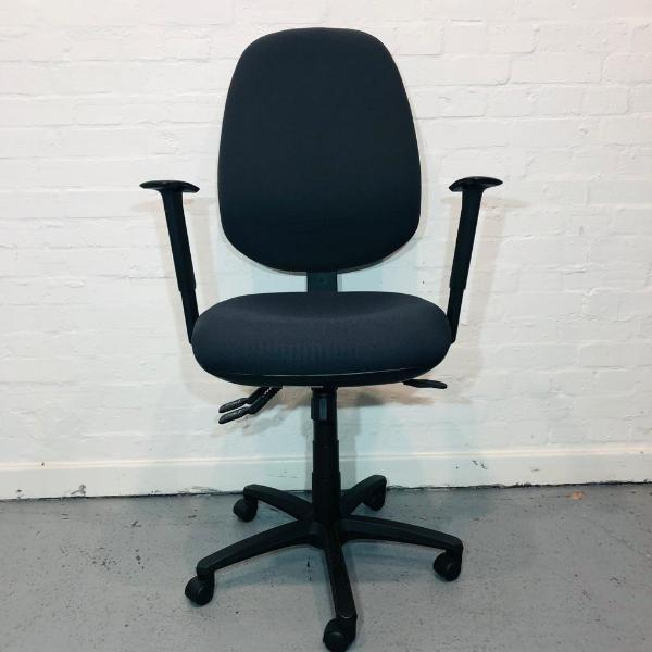 Office Operator Chair, Fully Adjustable, Armrests, Navy Blue, Swivel Base