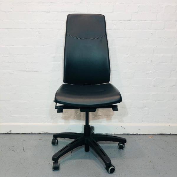 Ikea Volmar Executive Office Chair, Adjustable, Swivel Base, Black Leather