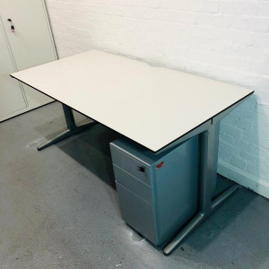 Used Ahrend Rectangular Desk With Cable Management, Light Grey